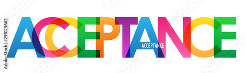ACCEPTANCE colorful rainbow typography banner Canvas Print
