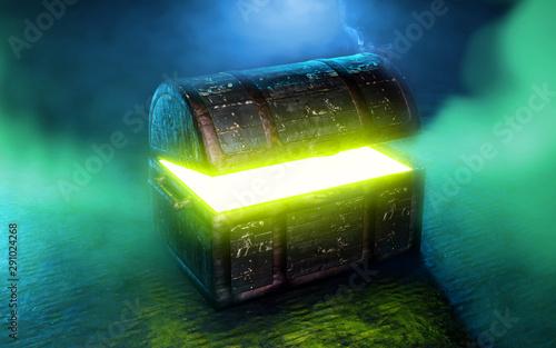 Photo  Pandora's box with green smoke 3d render