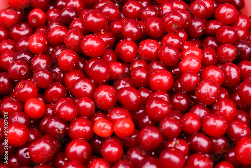 ripe red cherries close-up