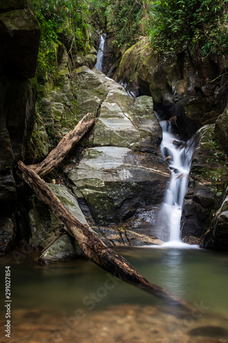 Beautiful green rainforest waterfall landscape in Tijuca Forest jungle