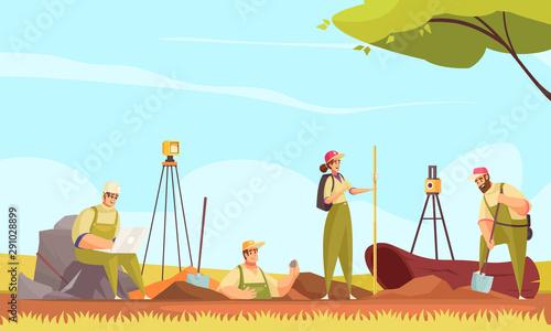 Obraz na plátne Geologist Soil Flat Composition