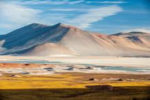 Pideras Rojas (Red Rocks) Atacama Desert. Salt Lagunas And Volcanos And Red Rocks Southern From San Pedro De Atacama. Stunning Scenery In Evening Sunlight At Atacama Desert, Chile, South America