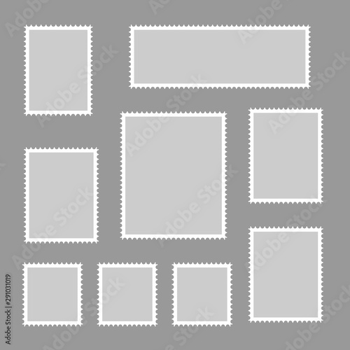 Postage stamps vector vintage border post mail. Postmark perforated paper. Wall mural