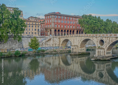 Poster Historisch geb. View of Ponte Sisto in Rome