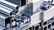 canvas print picture - nahaufnahme von sortiment verschiender metall Profile aus aluminium und stahl als baustoff oder werkstoff in lager von großhandel oder baumarkt zur auswahl als 3d rendering