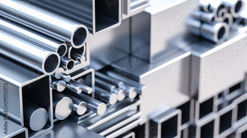 Fototapeta nahaufnahme von sortiment verschiender metall Profile aus aluminium und stahl als baustoff oder werkstoff in lager von großhandel oder baumarkt zur auswahl als 3d rendering obraz