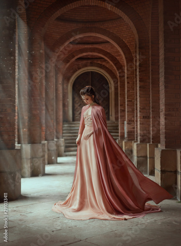 Valokuva  Sad princess in a vintage royal nude powdery color dress and in a cloak that flies in the wind