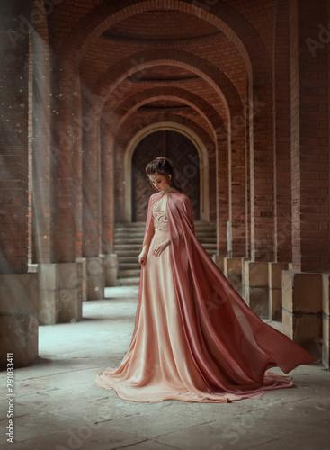 Smutna księżniczka w sukience w stylu vintage w kolorze pudrowego nagiego pudru i płaszczu, który lata na wietrze. Magiczne promienie słońca i nadziei zalewają kobietę przez kolumny. Długie ciemne włosy z tiarą.