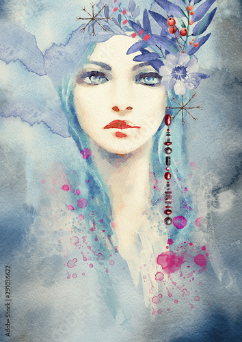 Fototapeta Winter. Abstract portrait of girl. Fashion watercolor background. obraz