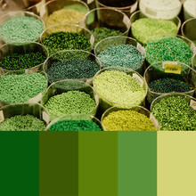 Trend 2020 Color Palette With Colorful Beads. Collage With Natural Green Colors Swatch.