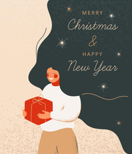 Christmas Illustration With Ruddy Woman Holds Red Gift Box. Vector Festive Concept For Merry Christmas And Happy New Year