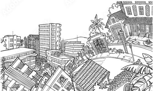 Vista de um bairro, com suas casa, prédios, ruas e ladeiras Fototapet