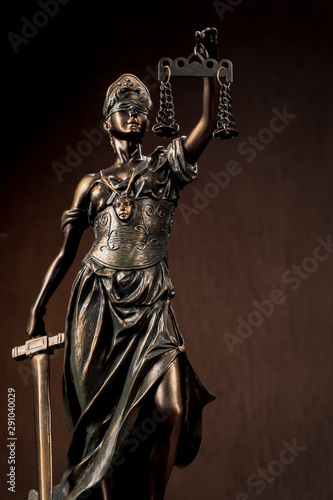 Photo sur Toile Commemoratif Themis Statue Justice Scales Law Lawyer Business Concept.