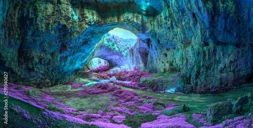 Fototapeta Mystical cave in bright fantastic colors