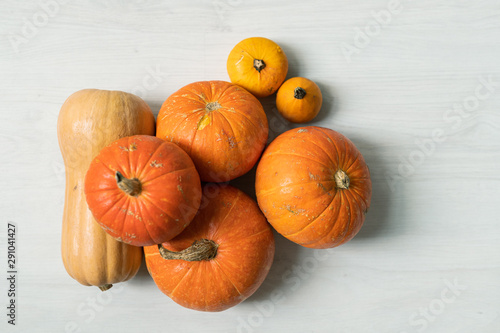 Photo sur Toile Amsterdam Pile of large orange pumpkins and two yellow small ones over white background