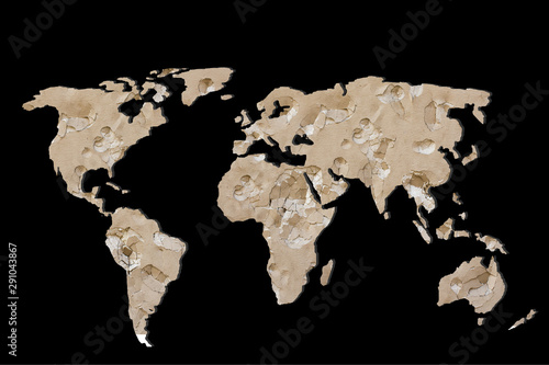 Roughly outlined world map with cracked background