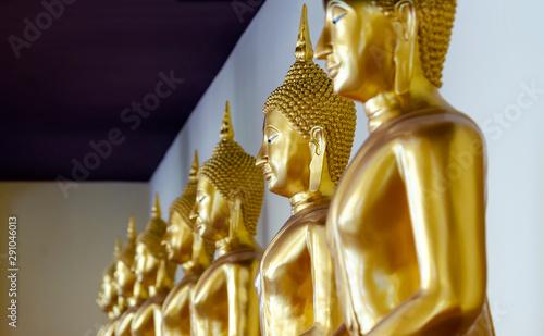 Spoed Foto op Canvas Historisch geb. Golden gold Buddha statue at Wat Sothon, New landmark of Thailand.