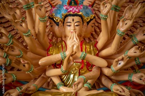 Foto op Canvas Historisch mon. A statue of Guanyin, goddess of mercy inside Golden Buddha Pagoda