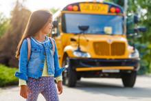 Schoolgirl Is Waiting For A School Bus
