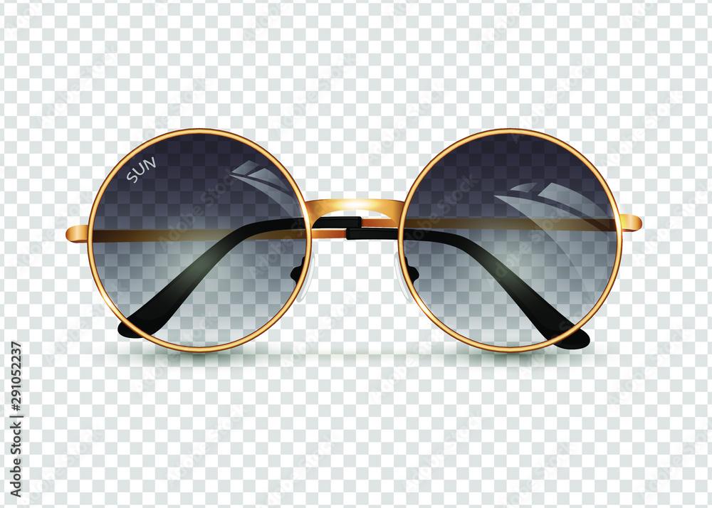 Fototapeta Women's sunglasses isolated ontransparent background, round gold-rimmed glasses, women's accessory. Summer season, the sea, the beach, vintage, trend. Vector illustration. EPS10