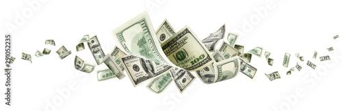 Fotomural  Us dollar bill. Washington american cash. Falling usd money back