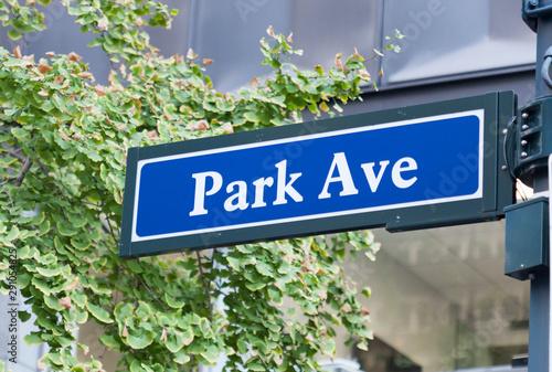 A Park Avenue street sign in midtown Manhattan