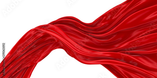 Foto op Aluminium Stof Abstract background of colored wavy silk or satin on white background. 3d rendering image.