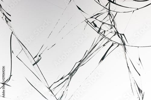 Fototapeta Cracked glass on a white background texture obraz