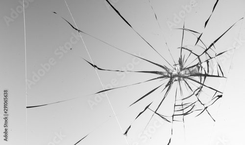 Fototapety, obrazy: Cracked glass on a white background texture
