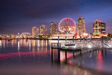 Vancouver City Skyline At Nigh...