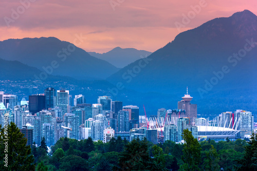 Fotomural  Vancouver city skyline, British Columbia, Canada