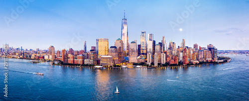 Wall Murals New York Drone panorama of Downtown New York skyline viewed from above Hudson River