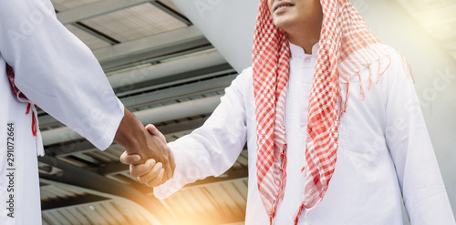Two young Arab businessmen are shaking hands. Wallpaper Mural