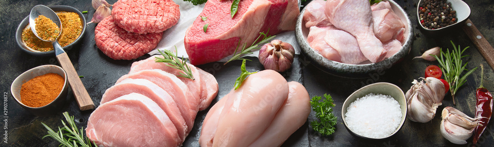 Fototapety, obrazy: Different types of raw meat