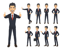Businessman Cartoon Charater Set
