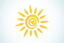 Sun Love Heart Logo Icon Web I...