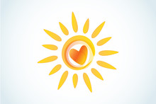 Sun With Heart Logo Icon Web I...