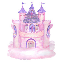 Pink Princess Magic Castle. Hand Drawn Watercolor Pink And Violet Fairytale Castle On The Cloud. Isolated On White. Kids Illustration.