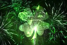 St. Patrick's Day Fireworks Toned Green With Big Shamrock Leaf