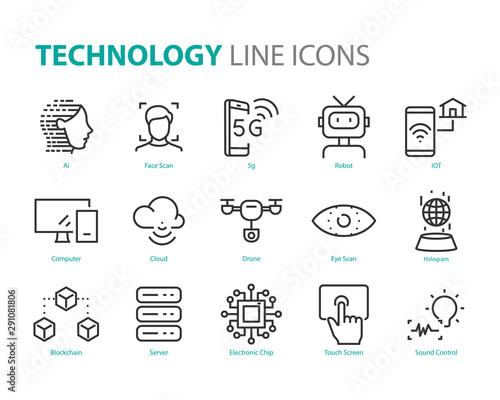 Obraz set of technology icons, 5g, ai, gesture, robot, iot - fototapety do salonu