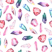 Seamless Pattern With Gems And...