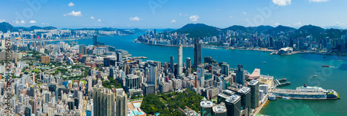 Drone fly over Hong Kong city Wallpaper Mural