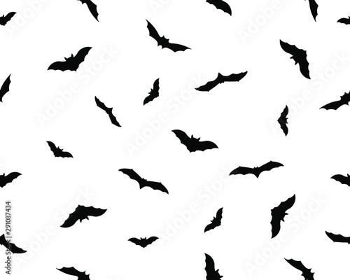 Valokuva  Seamless background, bats silhouette, vector autumn halloween background