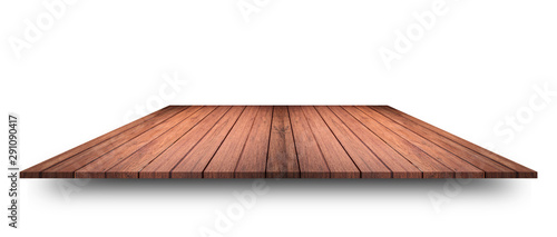 Empty top of wooden table or counter isolated on white background Obraz na płótnie