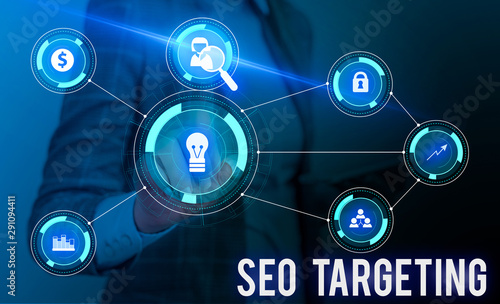 Photo  Conceptual hand writing showing Seo Targeting