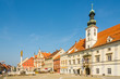 View at the Main square with Town hall building and Column Plague in Maribor - Slovenia