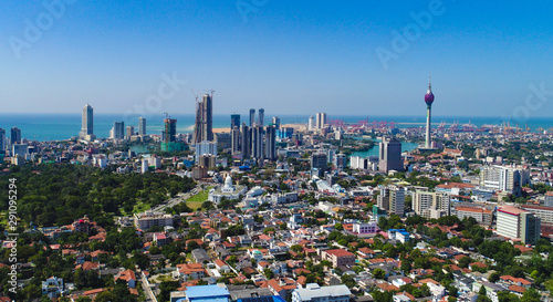 Stickers pour portes Fleur de lotus Colombo,Sri Lanka- December 05 2018 ; View of the Colombo city skyline with modern architecture buildings including the lotus towers.