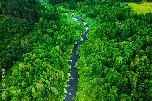 Obraz na plátně  Stunning blooming algae in the river, flying above