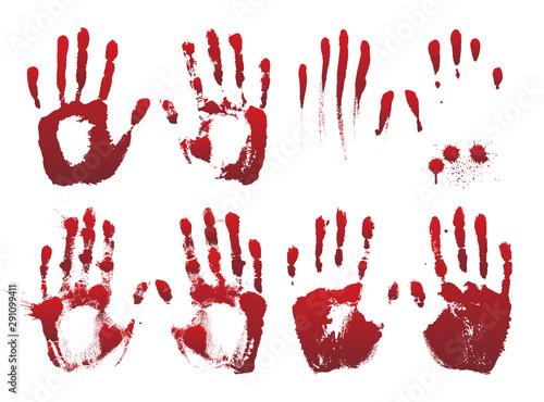 Vászonkép  Set of bloody red horror hand prints