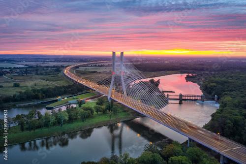 Aerial view of Most Redzinski bridge over Oder river on sunrise in Wroclaw, Poland